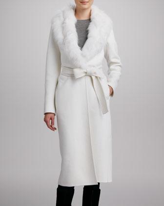 J. Mendel Wool Coat with Fox-Fur Collar - Neiman Marcus