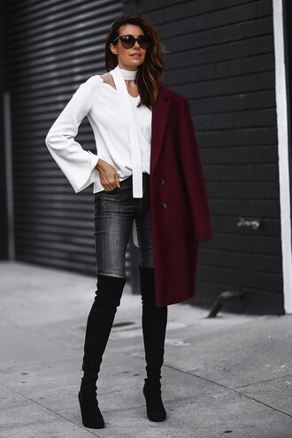 fashionedchic blogger jacket sweater jeans shoes bag coat burgundy coat thigh high boots bell sleeves grey jeans winter date night outfit choker necklace sunglasses burgundy