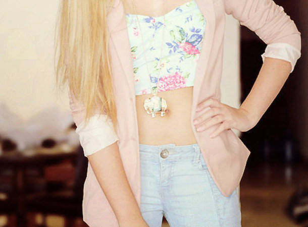 shirt bralette bandeau top summer spring floral cute bleach jeans blue pink white blazer bralette spring outfits flower headband elephant necklace jewels