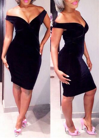 dress black sexy fashion style trendy off the shoulder party velvet hot rose wholesale-jan