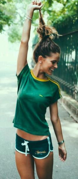 shorts green shorts sportswear shirt green t-shirt sportswear yellow green t-shirt dark dark colours cotton shorts sporty beautiful hipster sports shorts