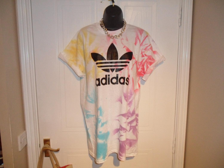 unisex customised adidas acid wash tie dye t shirt sz medium