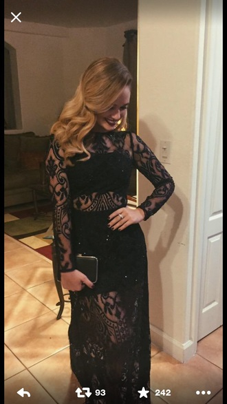 dress black lace long long sleeves prom pretty twopeice