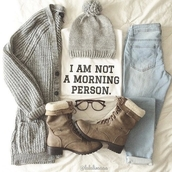 top,fashion,style,white top,quote on it,girly,winter outfits,hat,cardigan,jeans,shoes,mornings,t-shirt,tumblr shirt,modern,grey,blouse,sunglasses,shirt,hose,boots,knitted beanie,grey boots,flat boots,winter boots