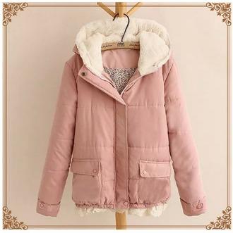 jacket coat pink japanese kawaii cute faux fur jacket