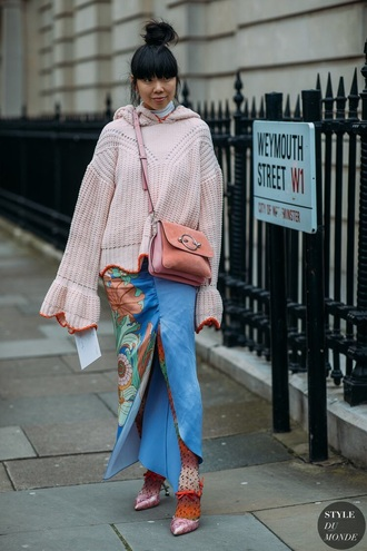 sweater polk sweater oversized sweater oversized maxi sweater bag pink bag streetstyle