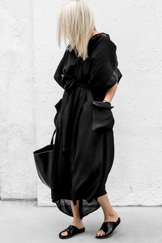 dress tumblr midi dress slide shoes oversized bag black bag shoes