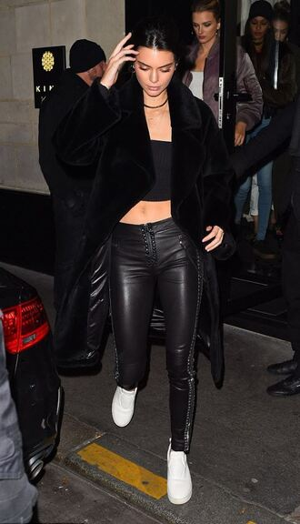 pants top sneakers kendall jenner model off-duty coat shoes