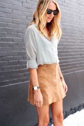 skirt camel suede skirt suede skirt mini skirt shirt printed shirt striped shirt watch daniel wellington sunglasses rayban rayban clubmaster back to school