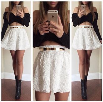 blouse skirt suit black and white rose skirt 3d rose dress shoes belt 3d roses white skirt golden belt roses high waisted skirt fashion ahead black and white dress