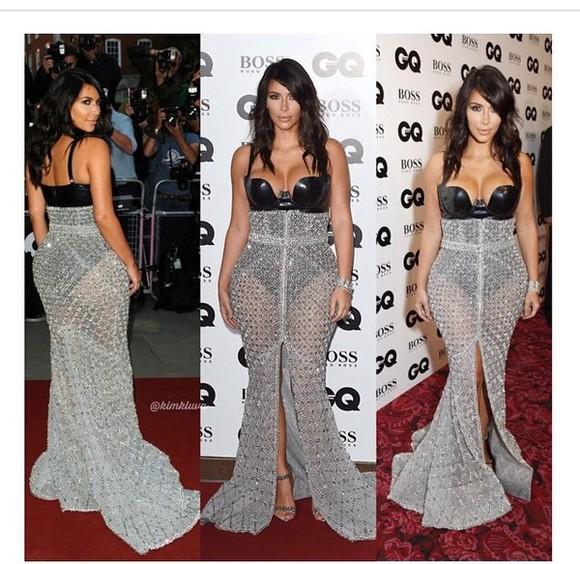dress black kim kardashian long dress train dress silver