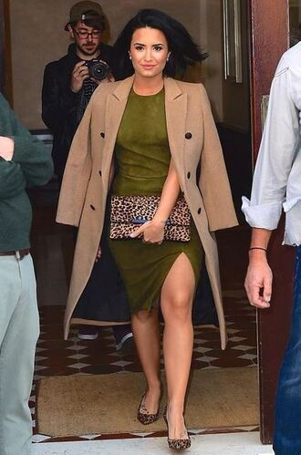skirt top olive green demi lovato coat fall outfits