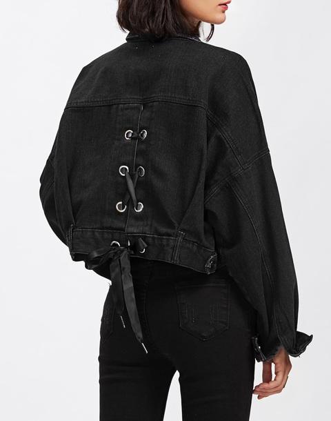 jacket girly black denim jacket denim