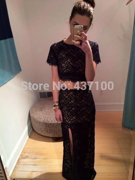 Elegant prom dress short sleeves lace high slit two piece black long maxi formal evening dress 2015 vestidos de fiesta