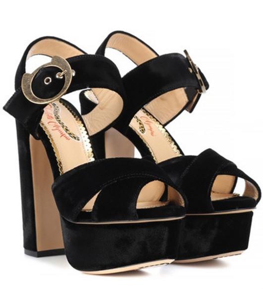 Charlotte Olympia Velvet plateau sandals in black