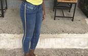 jeans,demin jeans,yellow stripe