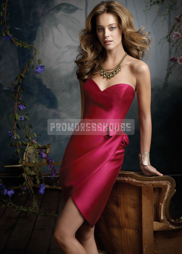 Fuchsia Satin Column Bowknot Sweetheart Bridesmaid Dress - Promdresshouse.com
