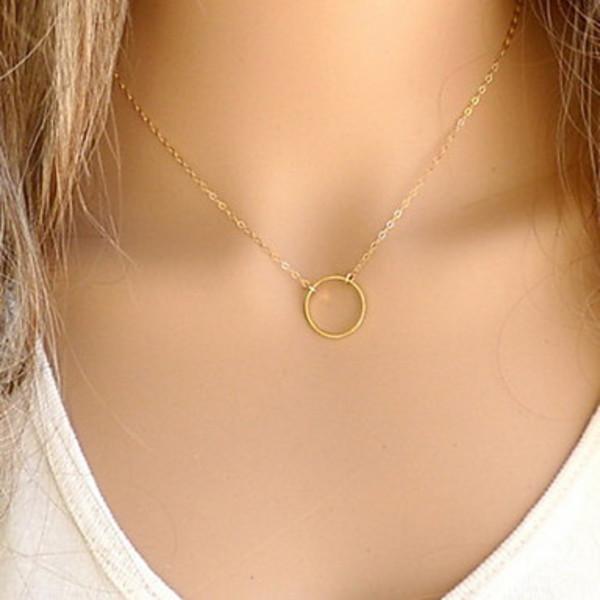 jewels gold necklace cercle short necklace fine necklace