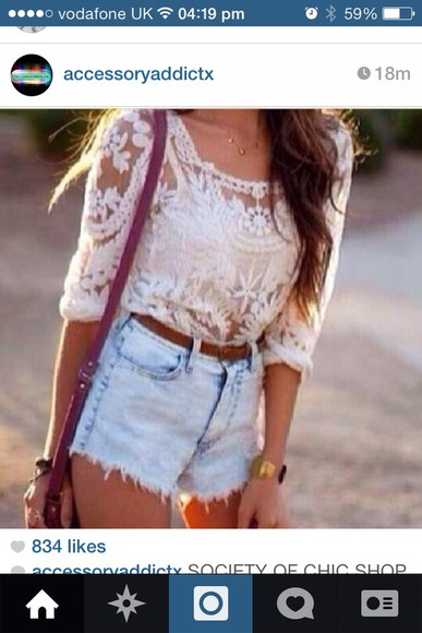 crop tops top beautiful dentelle top blouse vans tumblr shorts shirt
