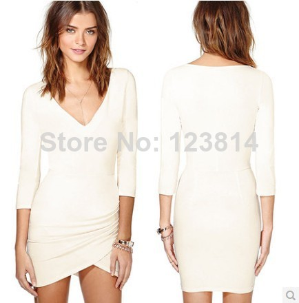 Free Shipping Spring Summer New 2014 Women Beige Sexy Evening Dress Slim 3/4 Sleeve V Neck Bust & Hip Wrap Fashion Vestidos D374-in Apparel & Accessories on Aliexpress.com