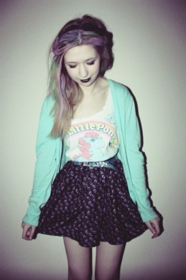 shirt pastel pastel goth grunge pink tank top cute my little pony skirt cardigan mint pony blouse top t-shirt