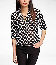 FLIPPED HEART CONVERTIBLE SLEEVE PORTOFINO SHIRT | Express