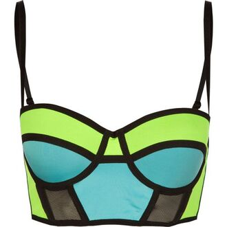 underwear bralette blue color block neon green rave top blue green bralettes blue and green crop top blue green bra
