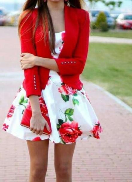 96f04047df dress white dress floral dress cute dress cute floral rose roses flowers  red red rosses wow