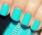 jewels,nail polish,turquoise,butter london,teal,aqua,butter london nail polish,cute,light blue,party make up