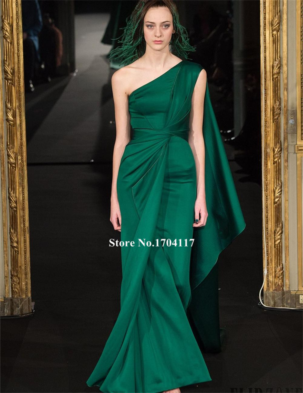 One Shoulder Evening Party Dress 2016 Fashion Green Long Mermaid ...