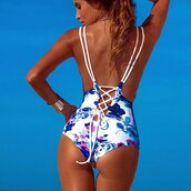 swimwear,white,lace up,deep v back,blue and white,royal blue,blue,blue flowers,sexy,plunge neckline,strappy,one piece,white one piece,brazilian bikini,sexy swimwear,sexy bikini,sexy swims,preppy,cool,lookbook,style,white and royal blue,tumblr,tumblr bikini,tumblr swimwear,moraki,one piece swimsuit,hoodie,style scrapbook