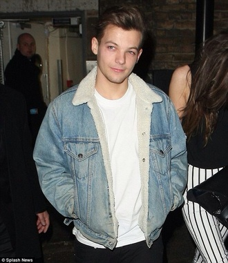 louis tomlinson denim jacket one direction shearling jacket mens jacket mens denim jacket shearling denim jacket vue boutique fur collar jacket denim fur collar denim faux fur jacket cold
