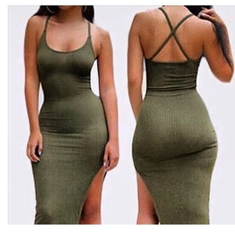 dress green green dress bodycon bodycon dress summer summer dress summer outfits slit dress spring dress spring outfits cute cute dress girly girly dress date outfit birthday dress clubwear club dress
