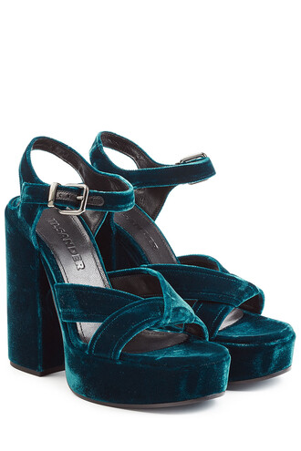 sandals platform sandals velvet blue shoes