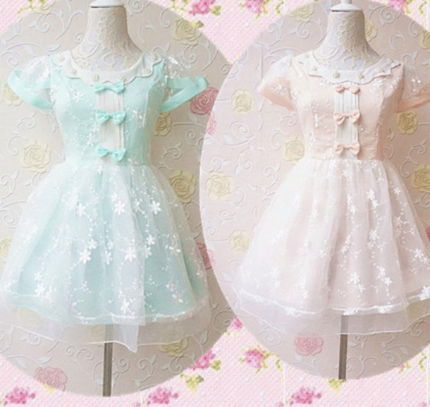 dress, kawaii, pastel pink, pastel, pastel, mint, mint ...