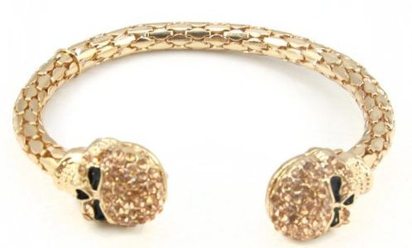 jewels bangle golden cute cuff bracelet fashion black arm candy skulls skull bracelet glam bling luxury shiny