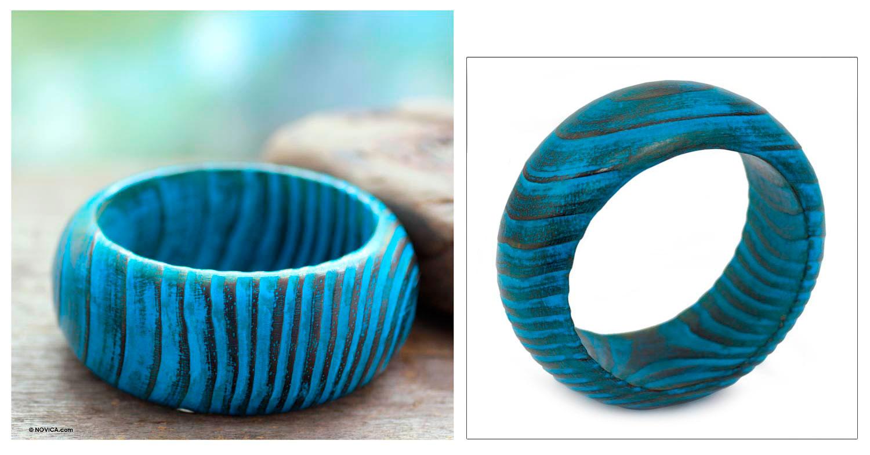 Wood bangle bracelet, 'Ocean Empress'