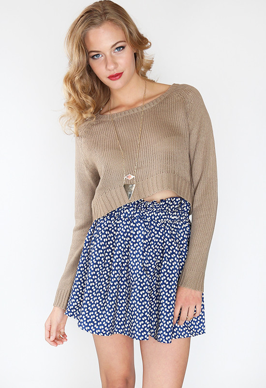 Lola Crop Sweater - Tan