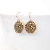 jewels,festive By Nature,earrings,coin earrings,gold dangle earrings,gold earrings,gold,gift ideas