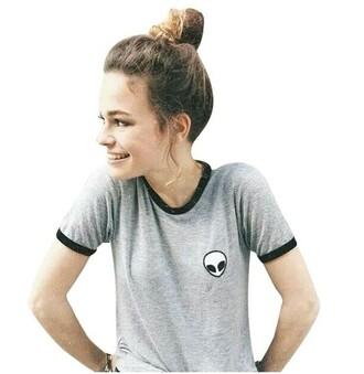 t-shirt grey alien crop shirt