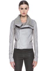 Rick Owens Clean Biker Leather Jacket in Gray | Lyst