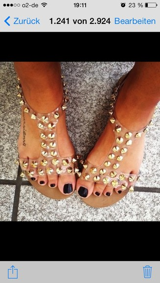 gold shoes rivets summer shoes flat sandals
