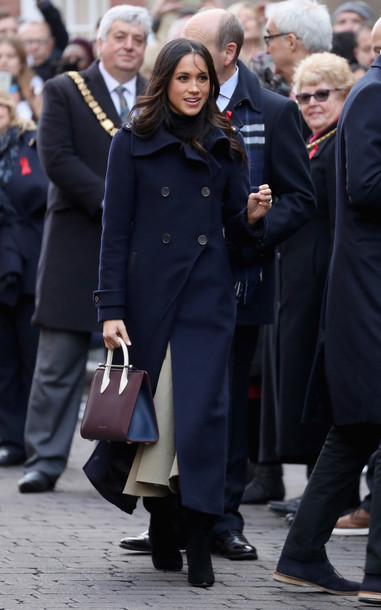 Coat Meghan Markle Streetstyle Winter Coat Boots Navy Navy