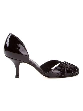 women vinyl pumps leather black shoes