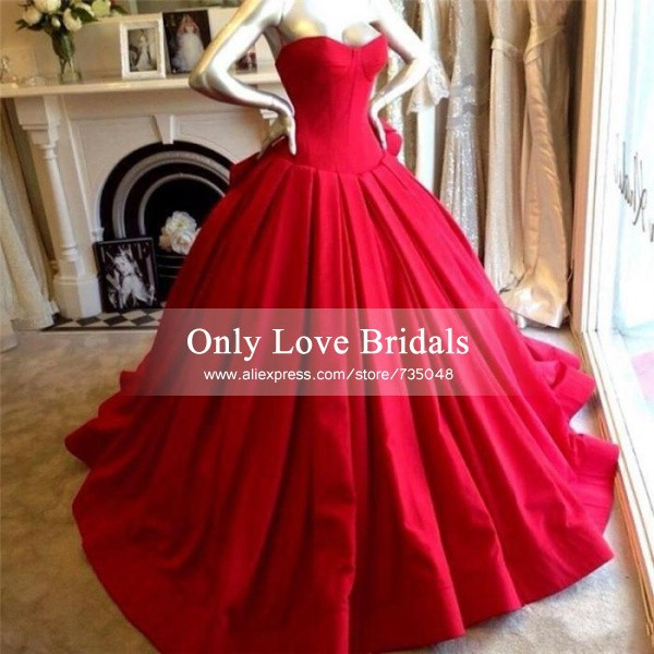 Aliexpress.com : buy vestido de noiva hot red sweetheart ball gown wedding gowns simple design satin floor length sleeveless backless wedding dresses from reliable dresses for large ladies suppliers on only love bridals
