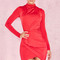 Clothing : bodycon dresses : 'dauphine' bright red draped jersey mini dress