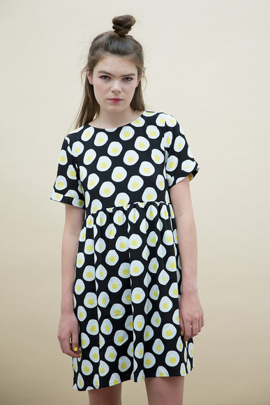 printed dress drees egg print