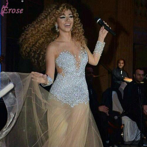 Lm-018 New Arrival Arabia Singer Myriam Fares 2013 See Through Sexy Beaded Long Sleeve Evening Gowns Dresses With Stones - Buy Long Sleeve Evening Gowns,Beaded Evening Dress,Evening Dress 2013 Product on Alibaba.com