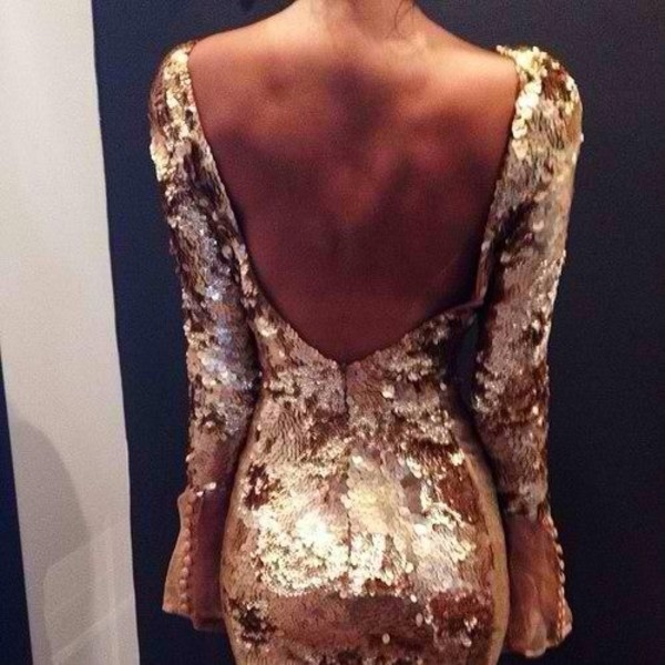 dress gold sequins glitter open back bodycon sequins gold sequins gold sequins dress sequin dress deep v dress deep v back short party dresses short prom dress open back dresses inspiration glitter dress party dress backless beautiful sexy classy