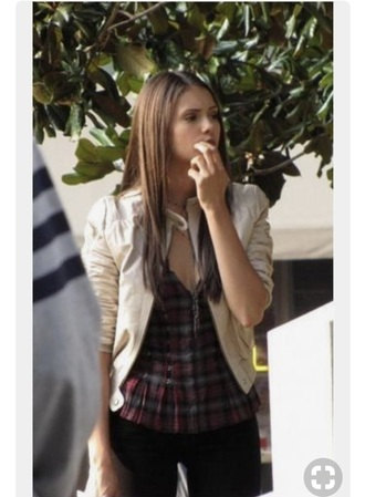 top nina dobrev blouse white leather jacket leather white red jacket necklace jewelry plaid the vampire diaries elena gilbert v neck